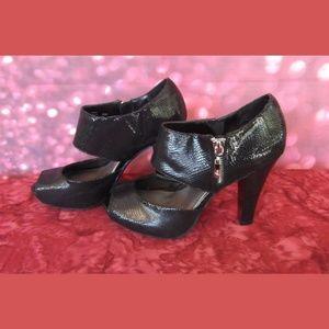 Fergalicious Harem Black Snakeskin Heels 6 1/2